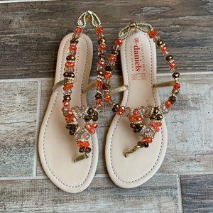 Shoes - ✨Crystal Beaded Thong Sandals Orange & Brown